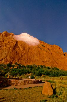 Nighttime Shot Of The Rock Formations At Garden Of The Gods In Colorado Springs, Colorado Royalty Free Stock Image