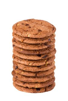 Cookie With Chocolate Pieces Royalty Free Stock Photo
