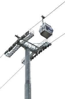 Free Cable Car And Post On White Royalty Free Stock Photos - 28396158