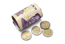 Free Roll Of Chinese Money And Euro Coins Stock Image - 28397551
