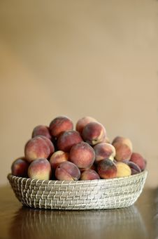 Basket Of Peaches Stock Image