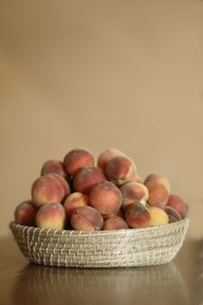 Basket Of Peaches Royalty Free Stock Photo