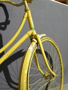 Yellow Bike Front Stock Photo