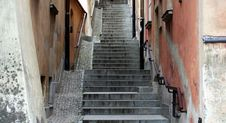 A Narrow Alley In Warsaw Royalty Free Stock Photo
