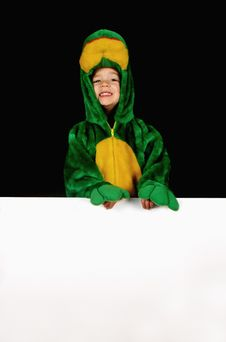 Little Frog Girl With Sign Royalty Free Stock Photo