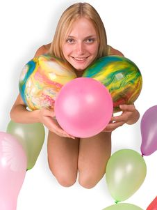 Free The Girl With Balloons Royalty Free Stock Photos - 2849488