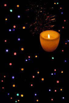 Free Christmas Lights And Candle Stock Image - 28401931