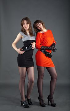Free Two Young Girls Staying In Studio Royalty Free Stock Images - 28404199