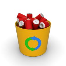 Free Cans In A Recycle Bin Royalty Free Stock Image - 28409676