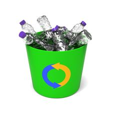 Free Plastic Bottles In A Recycle Bin Royalty Free Stock Photography - 28409717