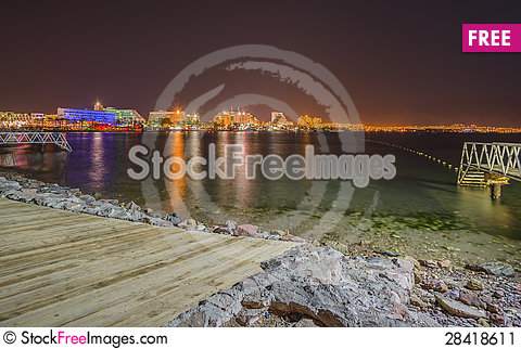 Free Night View On Hotels And Marina, Eilat Stock Image - 28418611