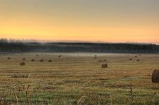 Free Slanted Field. Hay Piles. Royalty Free Stock Image - 28412036