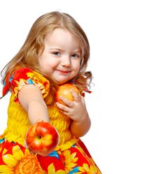 Free Little Girl Eating Apples Royalty Free Stock Photo - 28419915