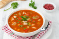 Free Bowl Of Roasted Tomato Soup With Beans, Celery And Bell Pepper, Royalty Free Stock Images - 28420149