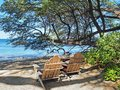 Free Two Wooden Adirondack  Chairs Overlooking Sandy Ocean Beach Stock Photo - 28425160