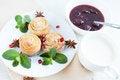 Free Buns, Milk And Jam - Sweet Breakfast Stock Photography - 28428482