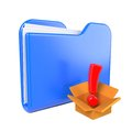 Free Blue Folder With Red Exclamation Sign. Stock Photo - 28428720