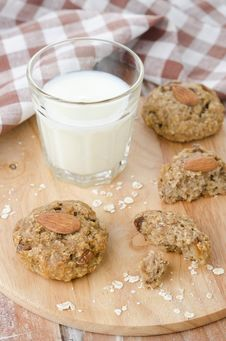 Homemade Oatmeal Cookies And A Glass Of Milk Stock Photography