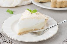 Free Piece Of Lemon Tart With Meringue Decorated With Fresh Mint On A Royalty Free Stock Photos - 28420118