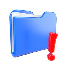 Free Blue Folder With Red Exclamation Sign. Stock Photography - 28428682