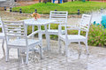 Free Chairs White Outdoor Patio Stock Images - 28435544