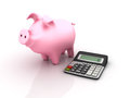 Free Piggy Bank And Calculator Stock Photo - 28437190