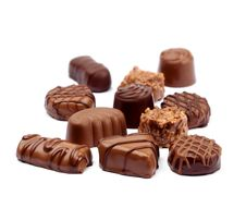 Chocolate Assortment On White Royalty Free Stock Image