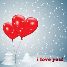 Free Balloons Heart With Snow Stock Photos - 28436233