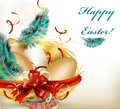 Free Pretty Easter Greeting Card With Nest, Eggs And Ferns Royalty Free Stock Photo - 28444845