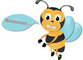 Free Cute Bee With Sign Royalty Free Stock Image - 28445346