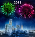 Free Futuristic Business City And 2013 New Year Celebration Royalty Free Stock Photography - 28448977