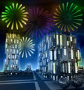 Free Awesome Firework Show At Night Over Cityscape Stock Photos - 28449063