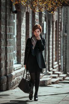 Free Beautiful Young Woman Walking On The Street Stock Photo - 28441370