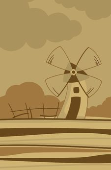 Free Autumn Landscape With A Windmill Royalty Free Stock Photos - 28442208