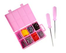 Free Pink Box With Screws And Screwdrivers Royalty Free Stock Images - 28442569