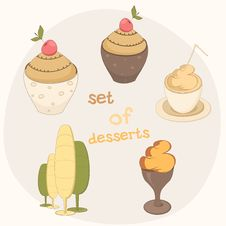 Set Of Desserts Royalty Free Stock Photography