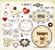 Free Calligraphic Vintage Design Elements For Valentine S Design Royalty Free Stock Photography - 28444187