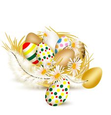 Free Colorful Vector  Easter Eggs In Nest With Ferns On A White Backg Royalty Free Stock Photo - 28444295