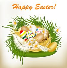 Free Easter Greeting Card With Colorful Eggs, Green Grass And Nest Royalty Free Stock Image - 28444596