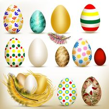 Free Easter Set Of Colorful Vector Eggs Stock Photo - 28444720