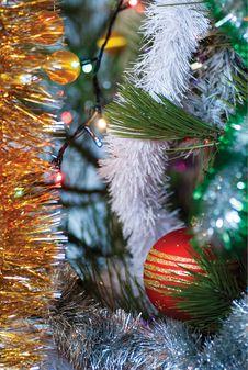 Christmas Tree Branch With Ball Stock Image