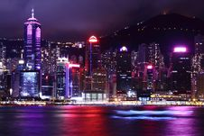 Free Hong Kong Skyline At Night Stock Image - 28447161