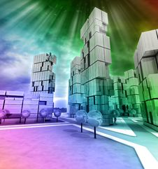 Free Business Modern City Rainbow Colored With Flare Royalty Free Stock Photo - 28448765