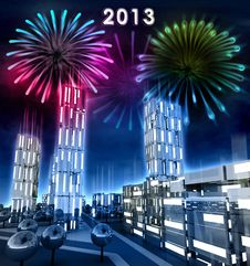 Modern City With Alighted Windows Celebrate New Year 2013 Stock Photography