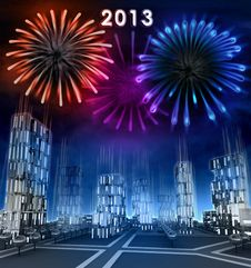 Free Midnight Firework New Year Celebration Over Skyscraper City Royalty Free Stock Photos - 28449098