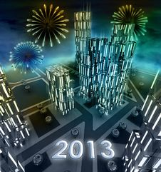 Free Midnight 2013 Celebration Over Modern Business City Royalty Free Stock Photo - 28449135