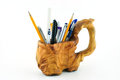 Free Wooden Carved Mug With Pencils Royalty Free Stock Image - 28452956
