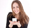 Free Beautiful Woman Shows Her Face Cream Royalty Free Stock Image - 28453536