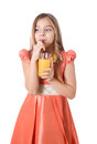 Free Girl With Juice Royalty Free Stock Images - 28453559