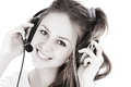 Free Headset Woman In Call Center Standing At Billboard Royalty Free Stock Photo - 28453635